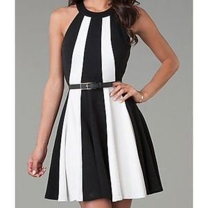XOXO black and beige striped cut out dress